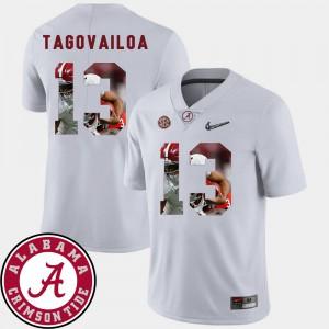 Football #13 Tua Tagovailoa Alabama Jersey For Men Pictorial Fashion White 763707-655