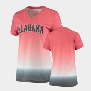 Ombre Crimson V-Neck Alabama T-Shirt For Women 510743-687