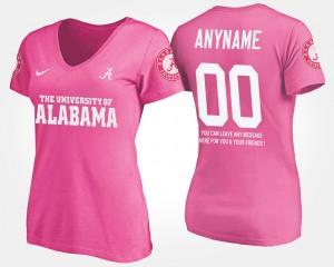 With Message Pink Women's #00 Alabama Custom T-Shirt 725240-432
