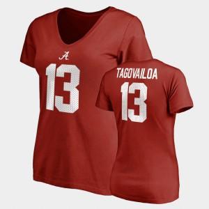 #13 Name & Number V-Neck Tua Tagovailoa Alabama T-Shirt Crimson Ladies College Legends 117931-452